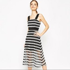 asos black and white striped lace dress